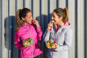 Both women eat healthy food and exercise daily.